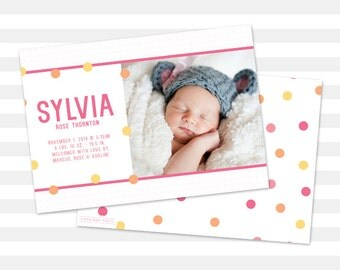 Girl Baby Announcement, Girl Birth Announcement, Double Sided - Sylvia