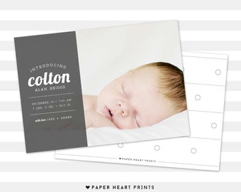 Simple Baby Announcement - Custom Double Sided Birth Announcement - Baby Boy, Baby Girl, Photo Card - Colton