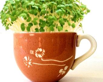 DIY Microgreens Garden Kit in Midcentury Russel Wright Tea Cup - Vintage China Harkerware White Clover Pattern