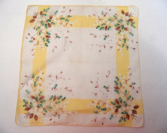 Green, brown and yellow floral handkerchief / vintage cotton hankie
