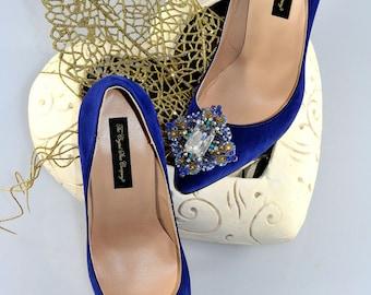 Swarovski crystal My something Blue Cobalt Navy Velvet Suede bridal embellished Court High heel shoe pump