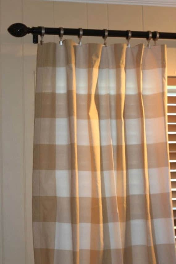 Buffalo check curtains in biscuit color p by bellaskidscloset