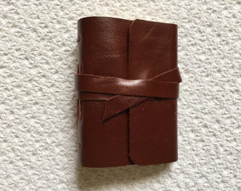 Leather Journal Pocket Journal Handmade in full grain cowhide leather diary