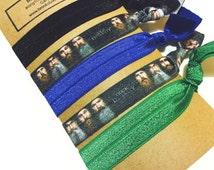 Set of 5 Elastic Hair Ties Bracelets- Duck Dynasty, Blue Black Green- Yoga, No Tug, No Crease