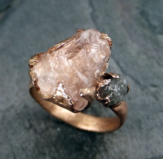 Raw Morganite Diamond Rose Gold Engagement Ring Wedding Ring