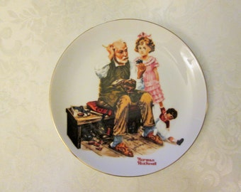 "Vintage Beloved Classics, Norman Rockwell plate "" The Cobbler"""