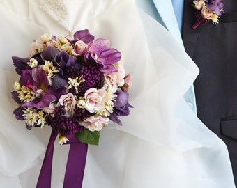 purple artificial real touch flower bouquet wedding iris rose daisy hydrangea vanda