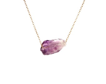 Amethyst necklace - crystal necklace - february birthstone - healing crystal - a little raw amethyst nugget on a 14k gold vermeil chain