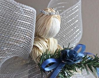 Christmas Tree Topper - Raffia Angel Tree Topper - Christmas Decor - Silver Raffia Angel w/ Navy Blue Flower Christmas Ornament