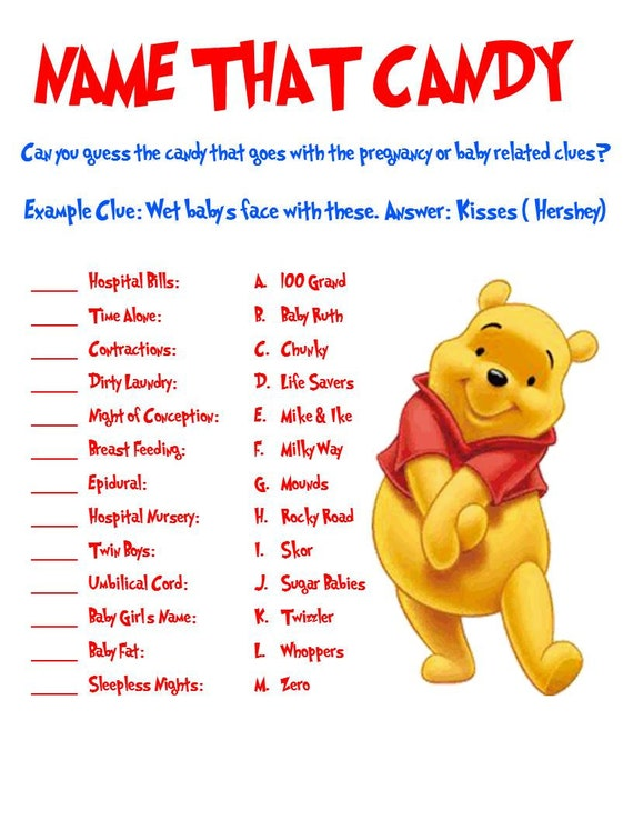Winnie the Pooh Name that Candy Game