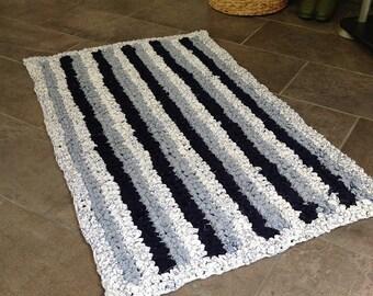 Rag Rug | Crocheted Rag Rug | Shabby Chic Rug | Cottage Rug | Upcycled Rug