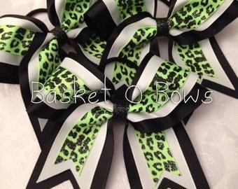 Small Neon Green with Black Glitter Leopard Print Hair Bow ~ Softball/Volleyball/Cheer/Soccer/Bowling/Gymnastics/Dance/Team