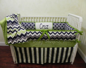 Custom Baby Bedding Set Cruz -  Boy Baby Bedding, Navy and Lime Crib Bedding