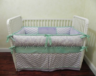 Custom Baby Crib Bedding Set Patty - Baby Girl Bedding, Lavender Damask, Lavender Chevron with Mint Baby Bedding