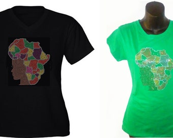 My Continent, My Beauty. Rhinestone Embellished Tee, Black.