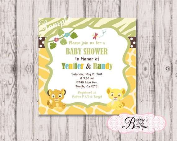lion king baby shower invitation digital download lion king baby