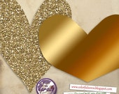 Gold Foil and Glitter Hearts clipart, Gold Digital ClipArt, Gold Glitter Valentines Hearts, Gold Christmas hearts, Gold Hearts Frame ClipArt