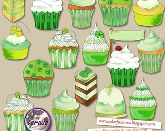 Patrick's Cupcakes Clipart, Irish Cupcakes Clip Art, Cupcakes Digital Clip Art, Scrapbooking, patrick's day cupcakes, lucky clipart