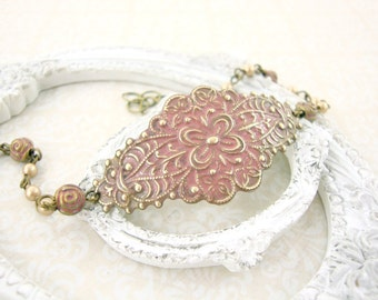Dusty Pink Victorian Bracelet - Pink Cottage Chic Jewelry - Brass Victorian Country Wedding Jewelry Pink and Gold Dusty Rose Patina Jewelry