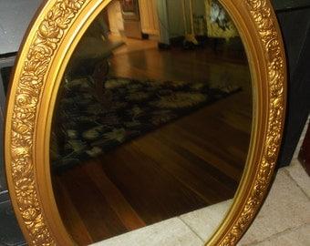 Vintage Ornate Gold Tone Oval Mirror Vintage Oval Mirror