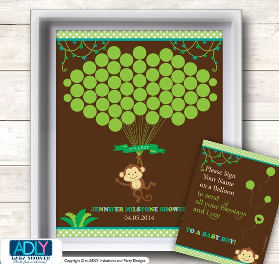 Items similar to Boy Monkey Guest Book Printable ...