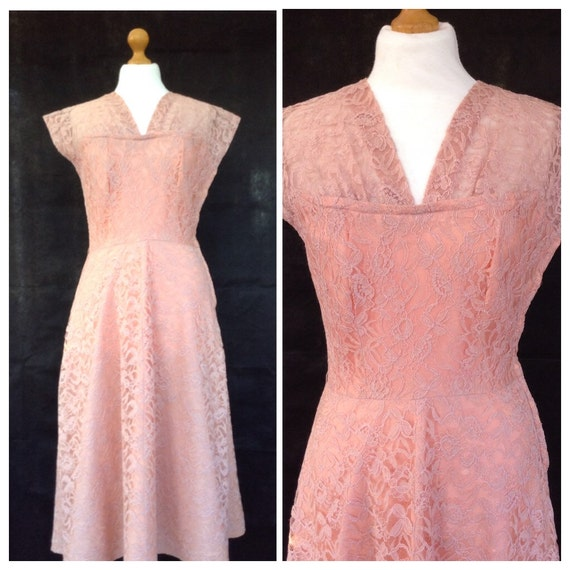 1940s dusky pink lace dress wedding party by dottysvintage for Dusky pink wedding dress