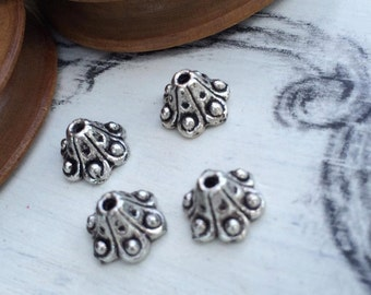 Bead cups old silver tone 8 mm x 2 pcs