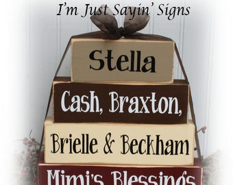 Custom Grandmother Blessings Wood Stacking Blocks