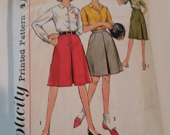 Vintage 1960s Simplicity 4648A sewing pattern misses' action back shirt and skirt in two lengths in size 14/bust 34