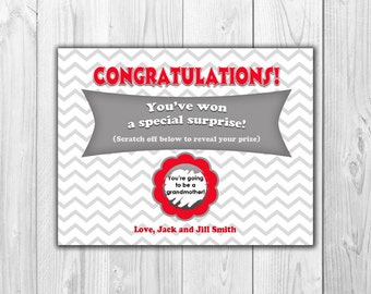 Pregnancy Announcement | Scratch Off Card (4 Cards and 4 Envelopes)