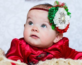 Christmas Sparkle Headband, Photo Prop, Newborn Christmas Headband, Baby Girl, Christmas Headband, Holiday Headband,  Christmas Couture