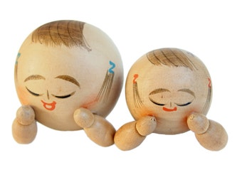 Creative Sosaku Kokeshi Dolls. Lying Down! Rare!
