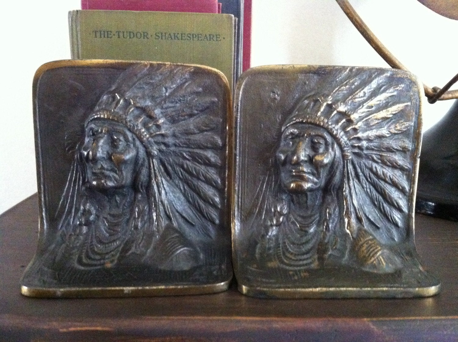 Antique brass bookends indian chief by bowencompanyantiques - Antique brass bookends ...