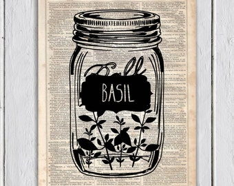 Mason Jar Basil Kitchen Decor, Dictionary Art Print, Upcycled Book Art, Silhouette,dictionary page Wall Decor, Wall Hanging, Mixed Media Art