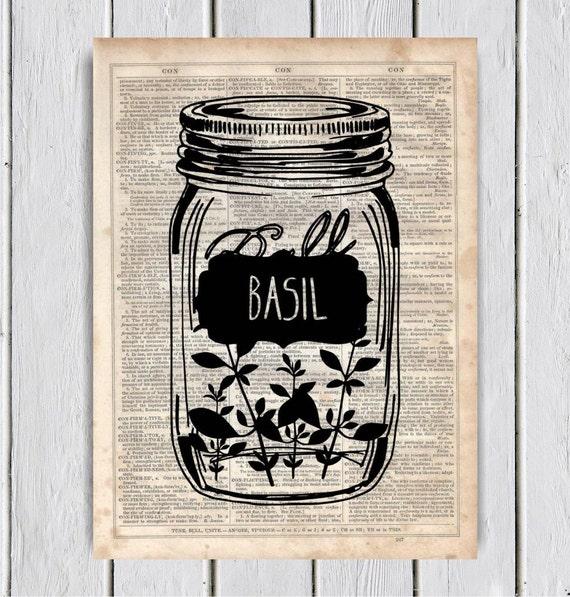 Mason Jar Kitchen Decor Set: Mason Jar Basil Kitchen Decor Dictionary Art Print Upcycled