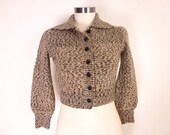 Vintage Cropped Collared Cardigan