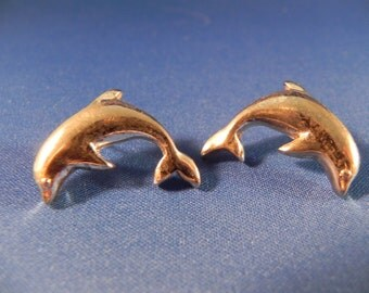 Vintage  Earrings  Dolphins Silver Tone Metal Post
