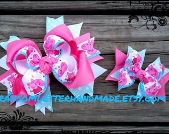 Peppa Pig Bow Pink Bows inspired by Peppa Pig Cartoon Pink and Blue Polka Dot Pepa Pig Ribbon