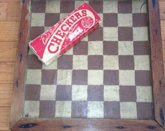 Vintage Handpainted Checkerboard / Checkers
