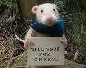 Needle Felted Mouse Homeless Mouse Will Work For Cheese