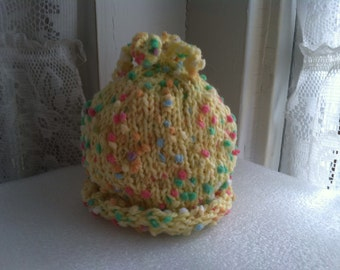 Yellow pom pom knit baby hat for 0-6 months old