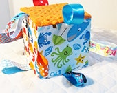 Sea Animals Adventures Baby Toy - Sensory Ribbon Tag  Cube Soft Block