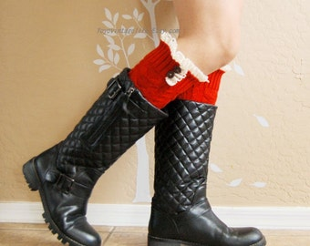 Christmas gift for her,Beautiful Lace Leg Warmers,Knit  Red leg warmer with cute cotton lace. leg warmers,boots long cuffs.Birthday gift