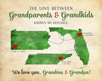 Grandparents Gift, Grandma and Grandpa Quotes, Long Distance Family, Great Grandmother, Grandchildren, Unique Gift for In Laws | WF284