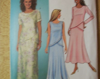 Butterick B4125 Misses (Size 20, 22, 24) above ankle skirt and top with asymmetrical front