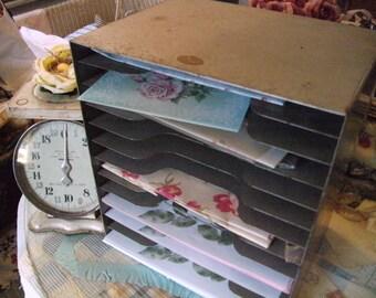 Vintage Metal Desk File Mail Organizer Vintage Industrial
