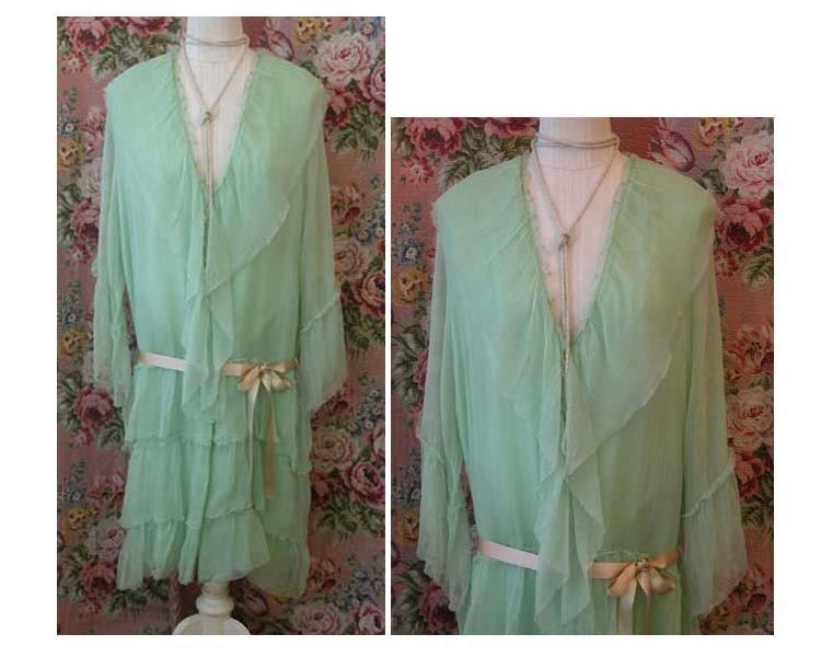 Lady Angel Free Shipping Short Beige Chiffon Bridesmaid: 20s Robe Wrap Mint Green Silk Chiffon Flapper Boudoir