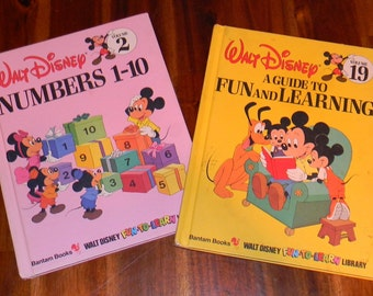 2 Vintage DISNEY Fun-To Learn Hardcover Books 1983 Volumes 2 & 19