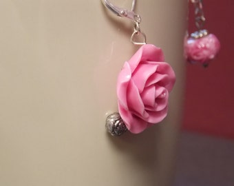Pink rose with silver bead earrings