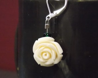 White rose and green accent earrings